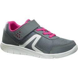 Zapatillas de Marcha Deportiva Newfeel PW 100 niña gris y rosa