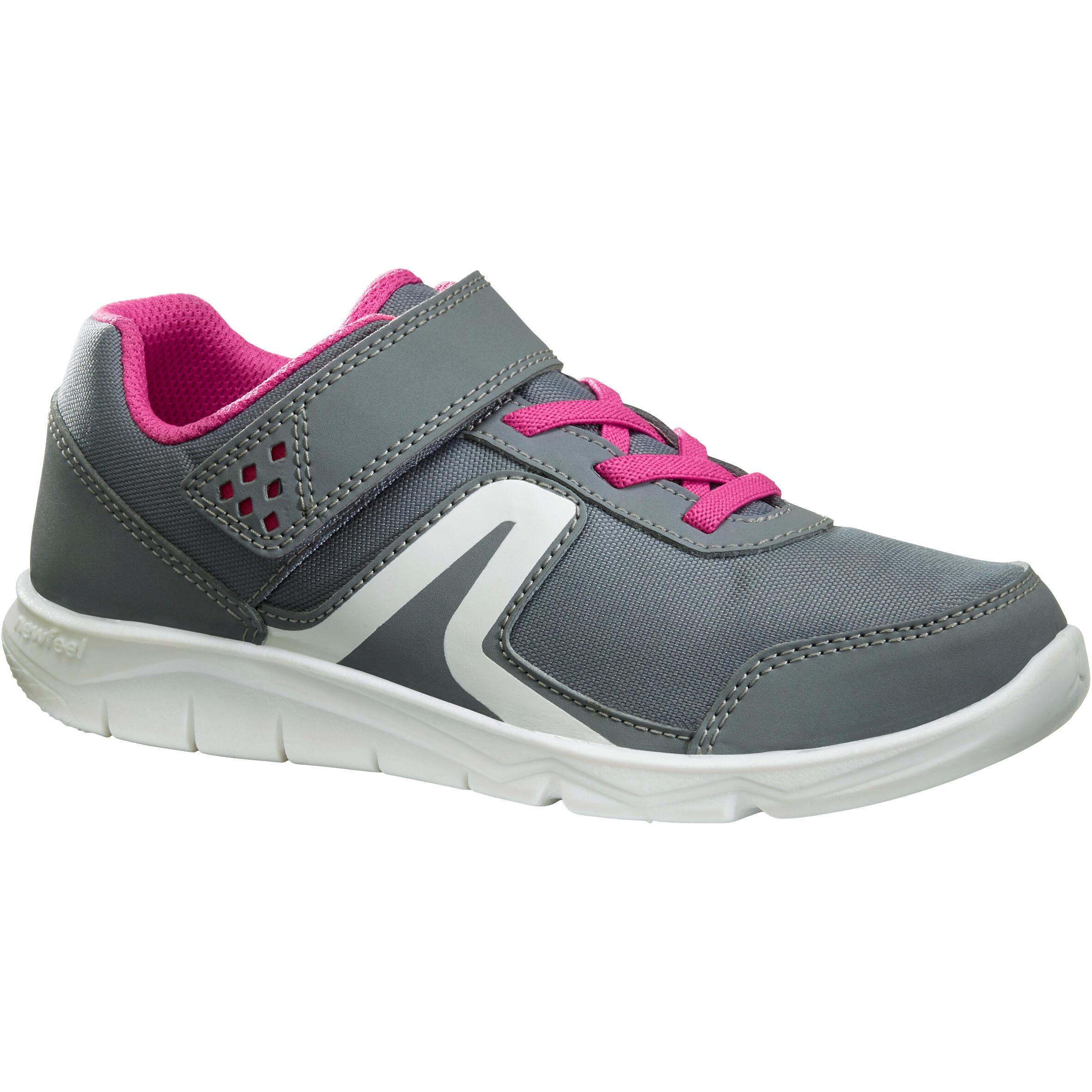 Tenis de caminata deportiva para niños PW 100 gris / rosa