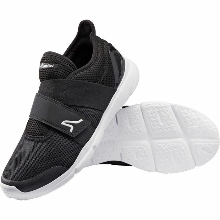 Damessneakers voor sportief wandelen Soft 180 strap zwart/wit