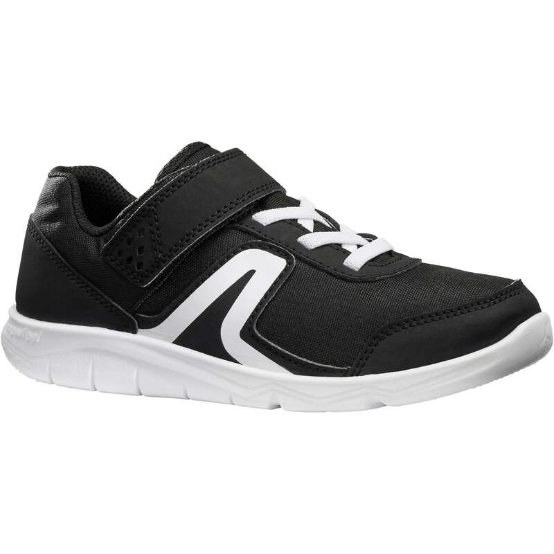 JUNIOR SPORT WALKING SHOES Hiking - PW 100 black/white NEWFEEL - Outdoor Shoes