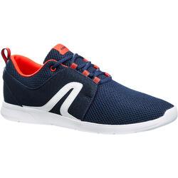 Herensneakers voor sportief wandelen Soft 140 mesh marineblauw / rood