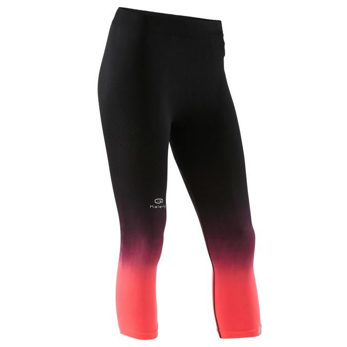 Laufhose 3/4 Tights Kiprun Care Damen schwarz/koralle