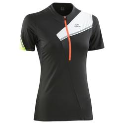 T-shirt met korte mouwen trail dames grijs/paarsachtig
