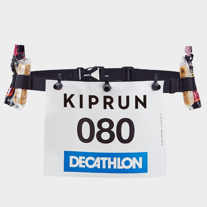 Riem met rugnummerhouder voor hardlopen zwart