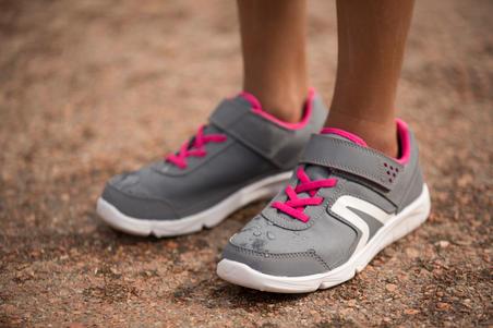Дитячі кросівки PW 100 для спортивної ходьби - Сірі/Рожеві