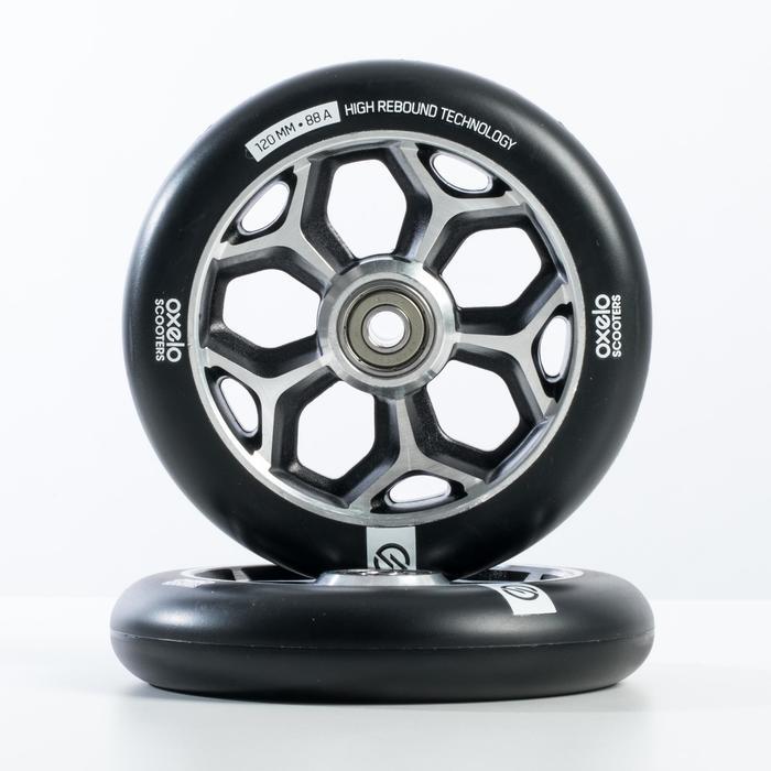 Wiel voor freestylestep grijze aluminium core zwart polyurethaan 120 mm