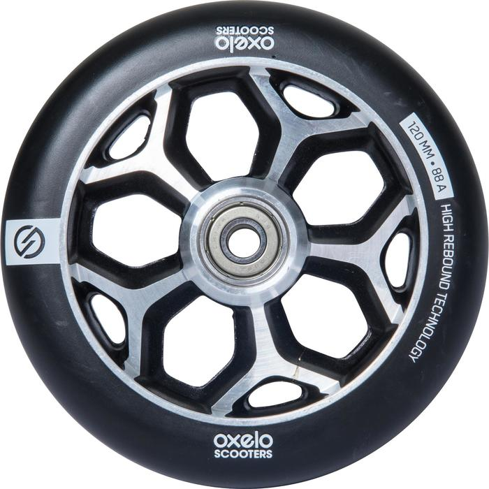 Roue trottinette freestyle core alu gris PU noir 120mm