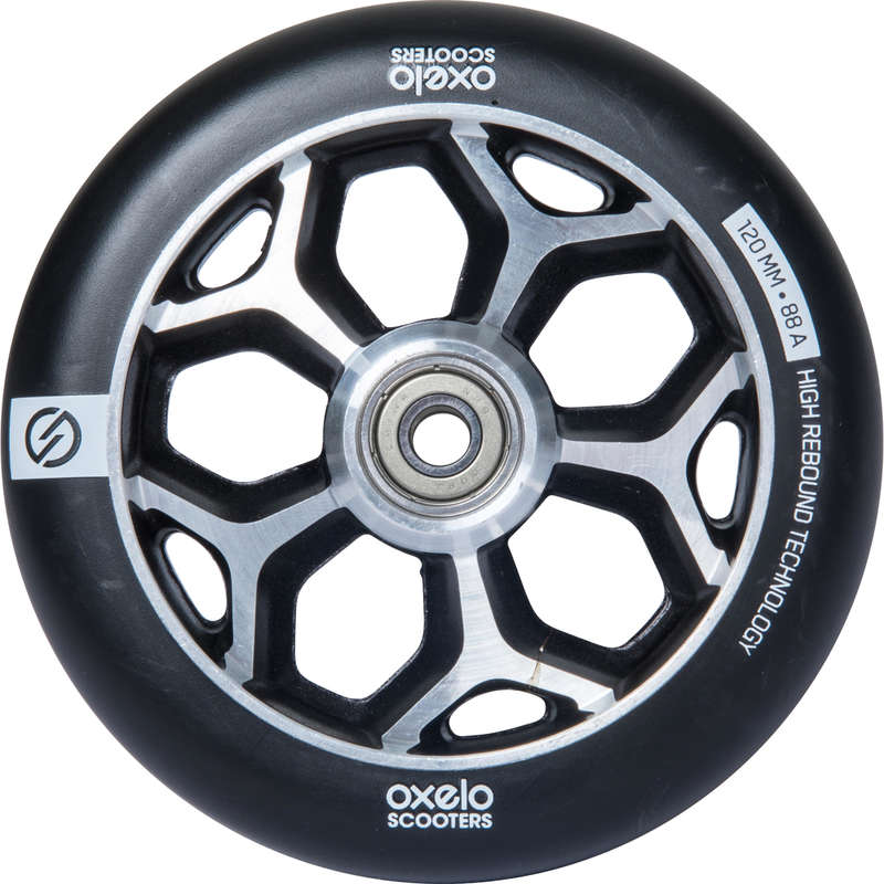 Accesorii Trotinete Freestyle Trotinete Role Skateboard - Roată Aluminiu PU 120mm Negru OXELO - Trotinete