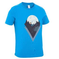 Camiseta Manga Corta de Montaña y Trekking Quechua MH100 Niños Azul Fuerte