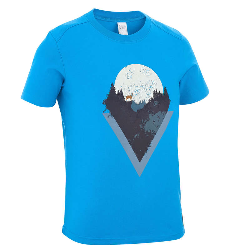 SHORTS T-SHIRTS HATS REGULAR 7-15 yrs Hiking - BOY T-SHIRT MH100 TW - BLUE QUECHUA - Hiking Clothes