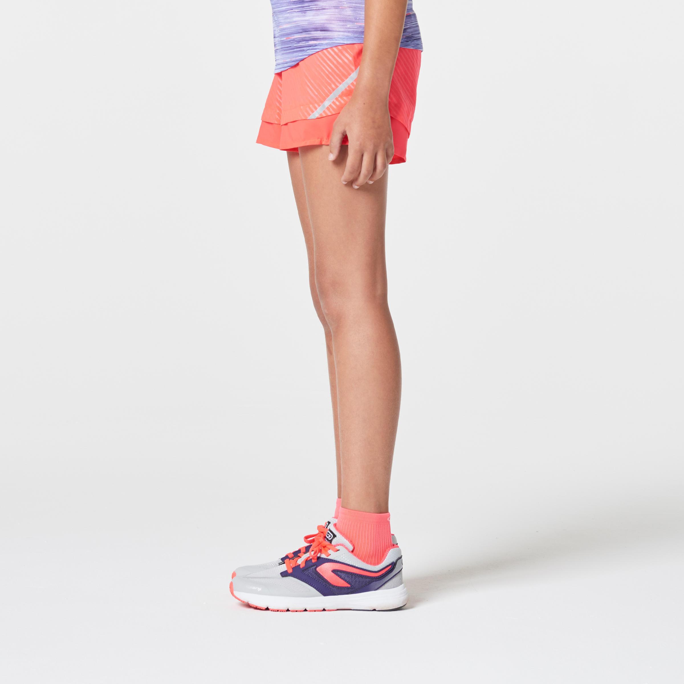Short Athlétisme Enfant Course au sec rose corail fluo noir
