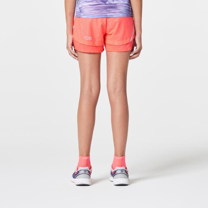 Short de atletismo para niño Run Dry rosa coral fluorescente violeta
