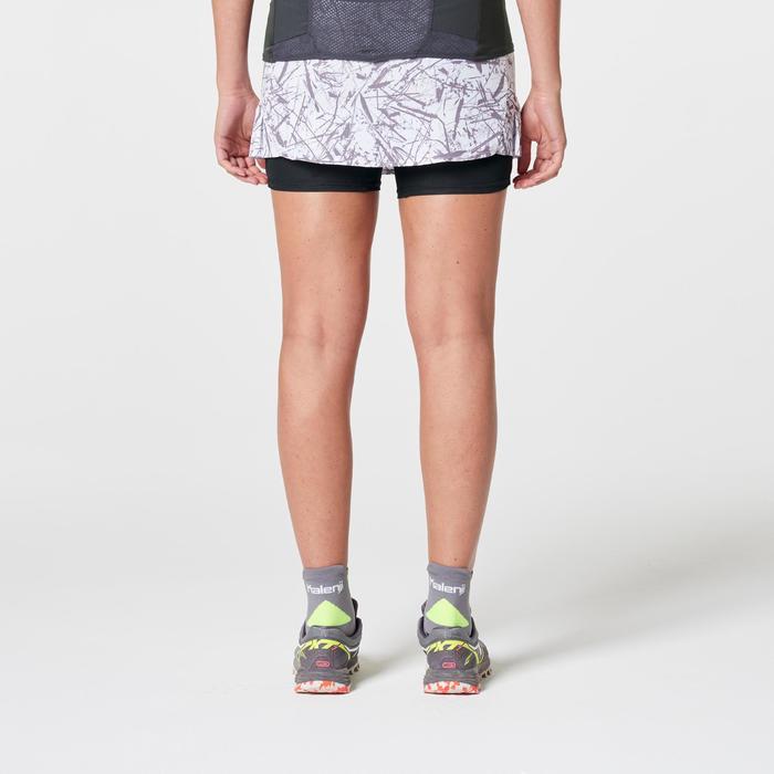 Jupe short trail running blanc graph femme
