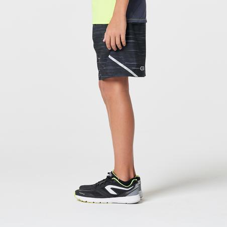 short flottant athlétisme enfant course au sec imprimé noir gris