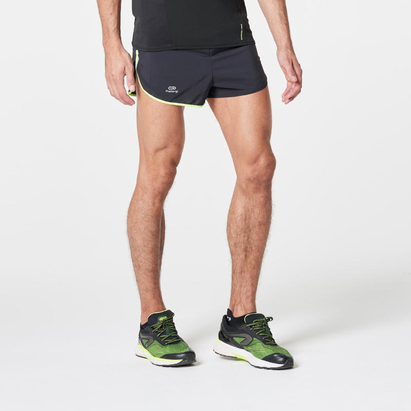KIPRUN SPLIT MEN'S RUNNING SHORTS BLACK