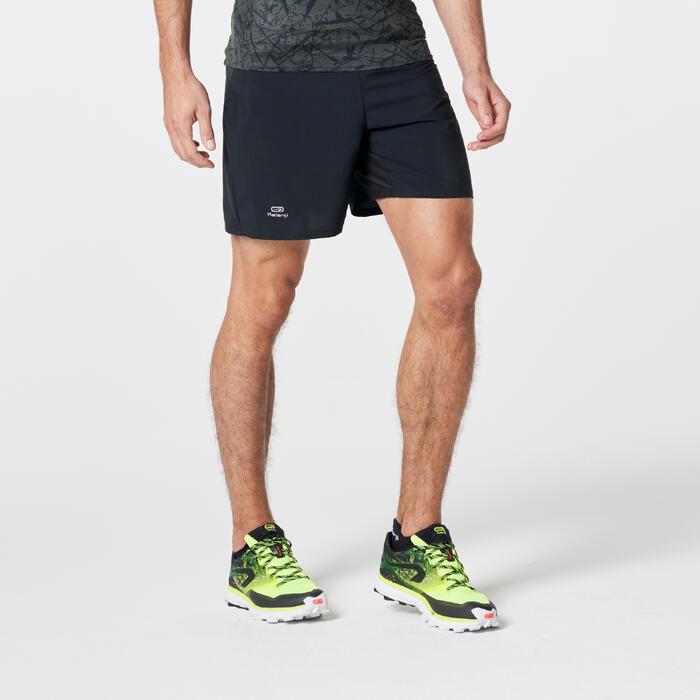 Baggy short trail running noir jaune homme