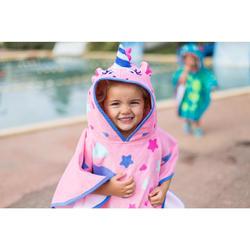 Poncho de bebé com capuz rosa estampado unicórnio