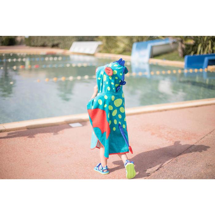 Peuterponcho met kap, blauw/groen, met drakenopdruk