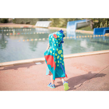 Poncho bébé avec capuche bleu vert imprimé DRAGON