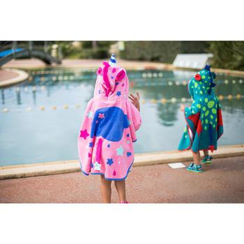 Poncho bébé avec capuche bleu et vert imprimé DRAGON - 1262907