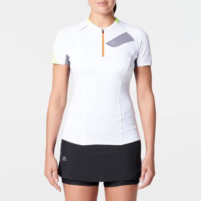 Tee shirt manches courtes trail running blanc gris femme - 1262952