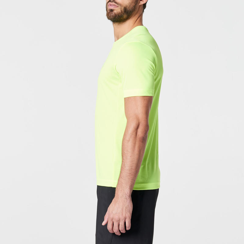 RUN DRY MEN'S RUNNING T-SHIRT - YELLOW