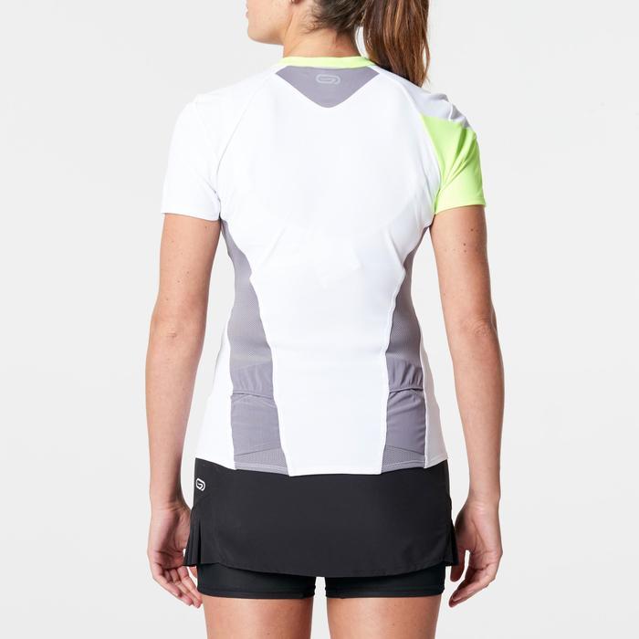 Tee shirt manches courtes trail running blanc gris femme - 1262963