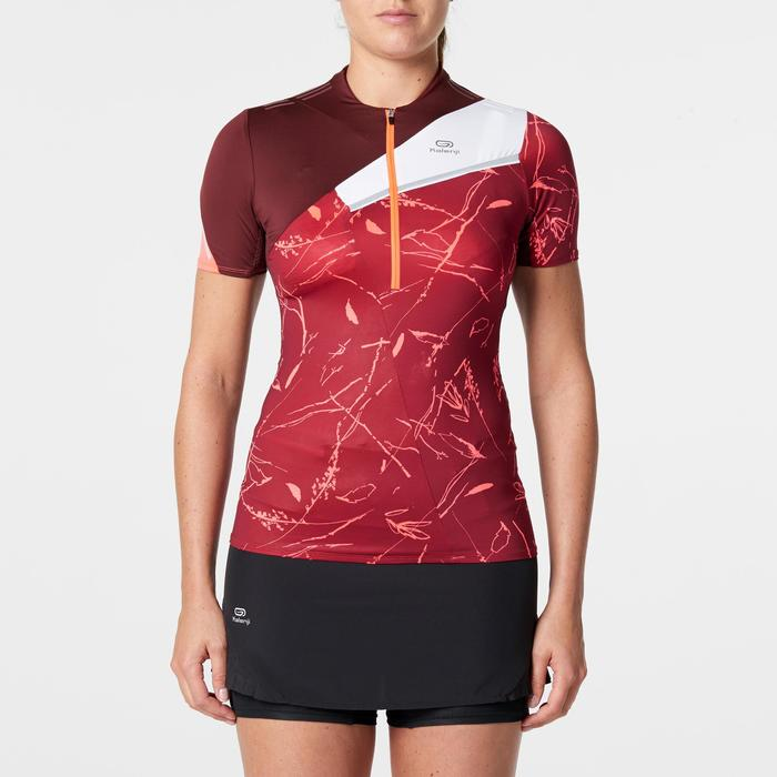 Dames T-shirt met korte mouwen voor traillopen bordeaux met print