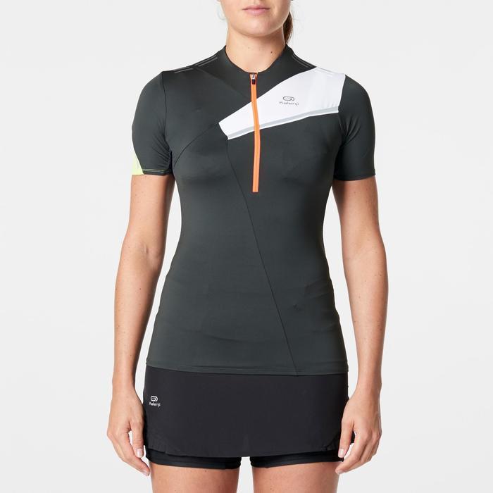 Camiseta de manga corta perf trail running mujer gris violáceo blanco