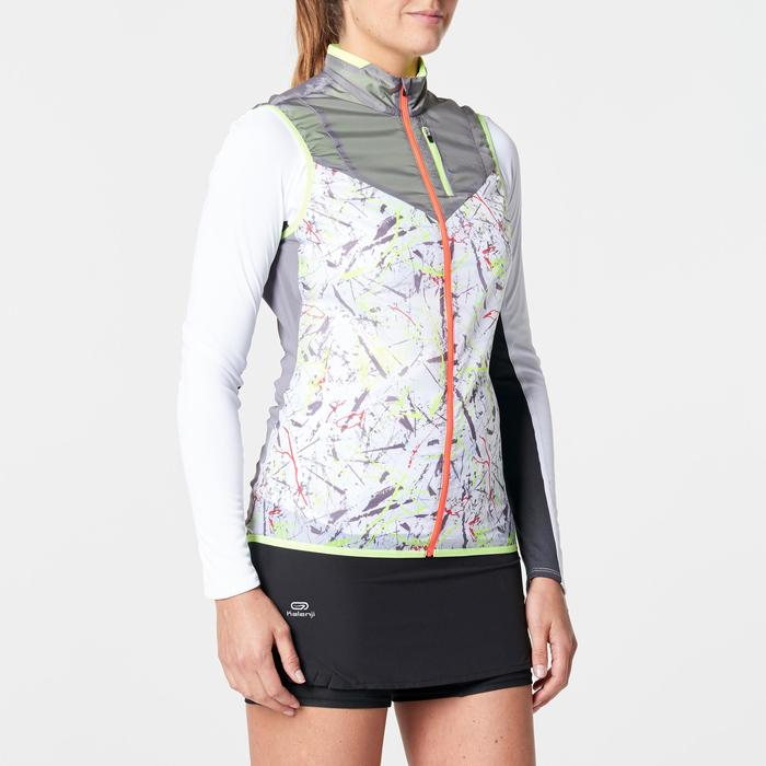 Laufweste winddicht Trail Damen grau/weiß mit Muster