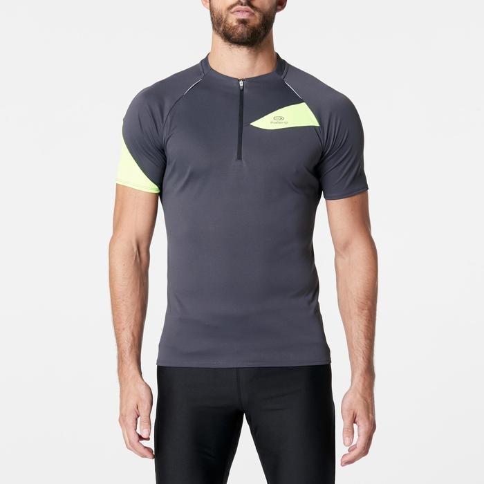 Men's Short-Sleeved Trail Running T-shirt - Grey/Yellow