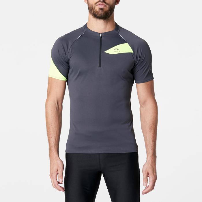 Tee shirt manches courtes trail running gris jaune homme - 1262984