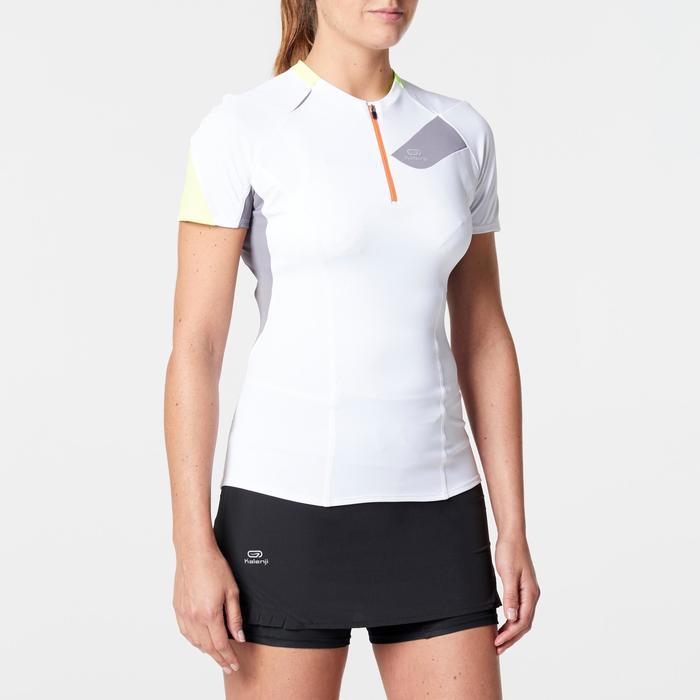 Laufshirt kurzarm Trail Damen weiß/grau