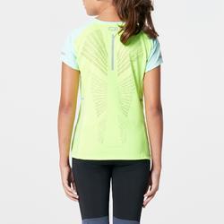 Camiseta de atletismo para niños Kiprun menta azul amarillo fluorescente