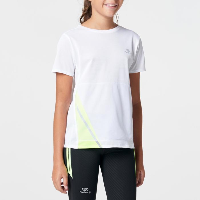 Tee shirt athlétisme enfant run dry dossard blanc - 1263023