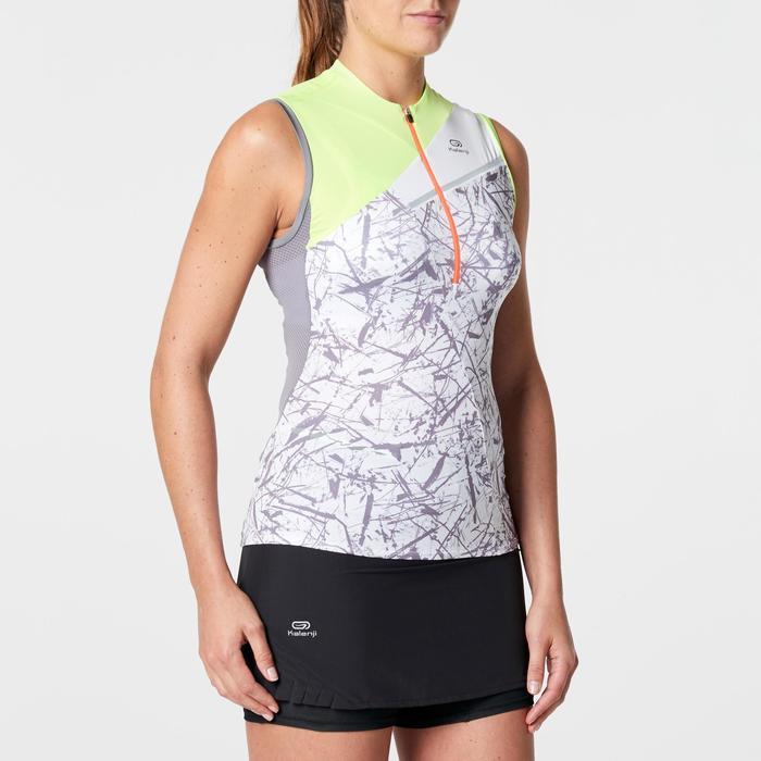 Camiseta sin mangas perf trail running amarillo grafismo mujer
