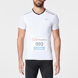 Hardloopshirt met startnummerhouder voor heren Kiprun wit