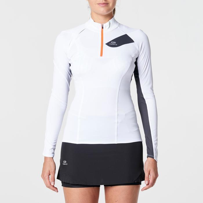 Tee shirt manches longues trail running blanc jaune femme - 1263133