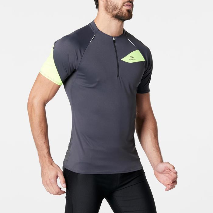 Tee shirt manches courtes trail running gris jaune homme - 1263134