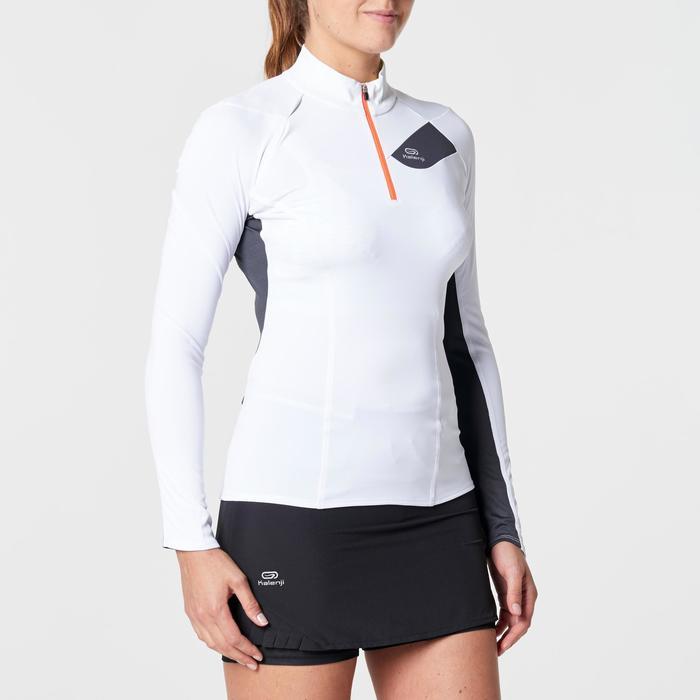 Tee shirt manches longues trail running blanc jaune femme - 1263137