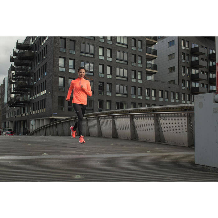 MAILLOT MANCHES LONGUES JOGGING RUN DRY+ ZIP CORAIL