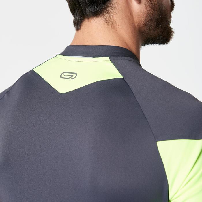 Tee shirt manches courtes trail running gris jaune homme - 1263318