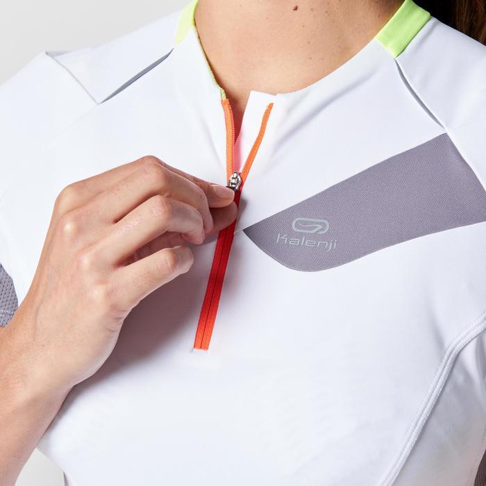 Camiseta manga corta trail running blanco gris mujer