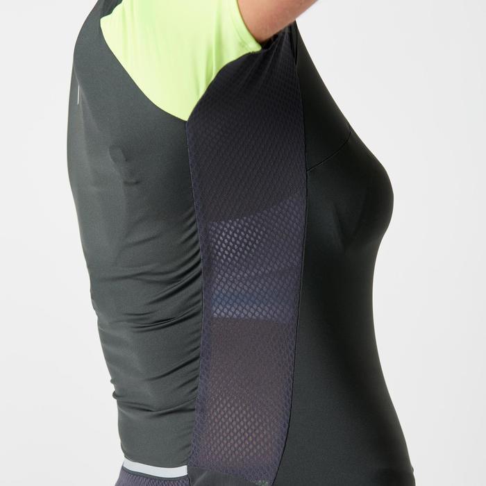 Laufshirt Trail kurzarm Damen grau-violett/weiß