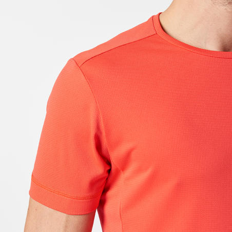 KALENJI DRY MEN'S BREATHABLE RUNNING T-SHIRT - NEON CORAL