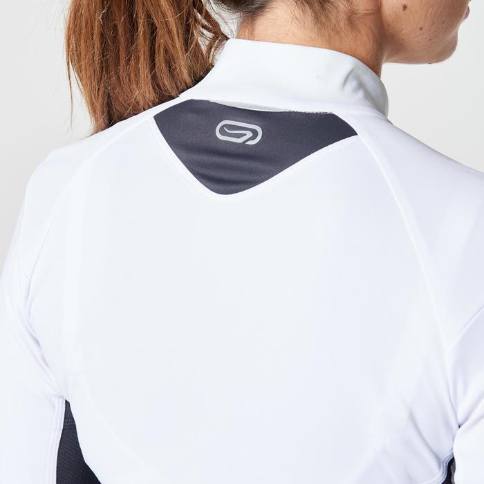 Tee shirt manches longues trail running blanc jaune femme - 1263621
