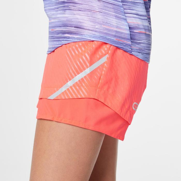 Short athlétisme fille run dry rose corail fluo violet