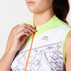 Camiseta Sin Mangas Running Kalenji Mujer Gris/Verde Bolsillos