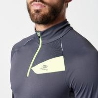 T-shirt à manches longues course sur sentier gris foncé et jaune homme