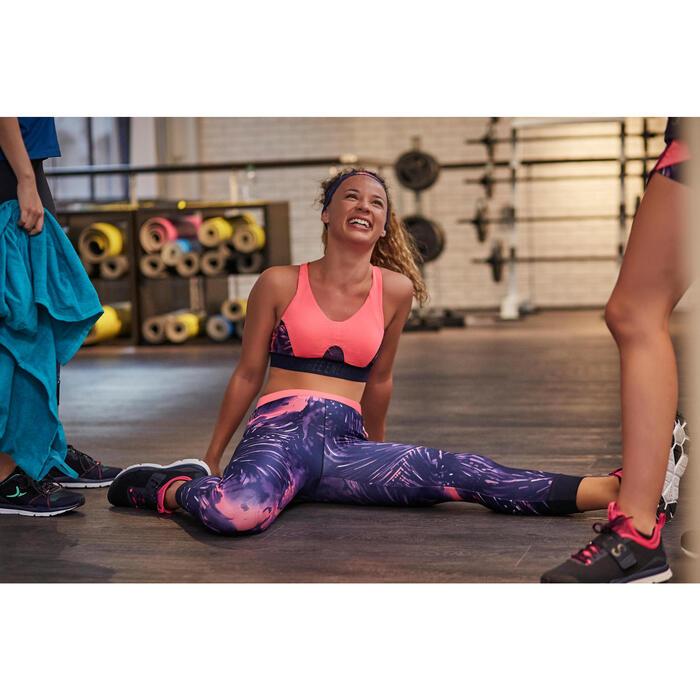 Brassière fitness cardio femme à imprimés tropicaux roses 500 Domyos - 1263947